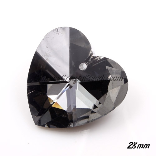 Chinese Crystal 28mm Heart Pendant/Bead, black diamond