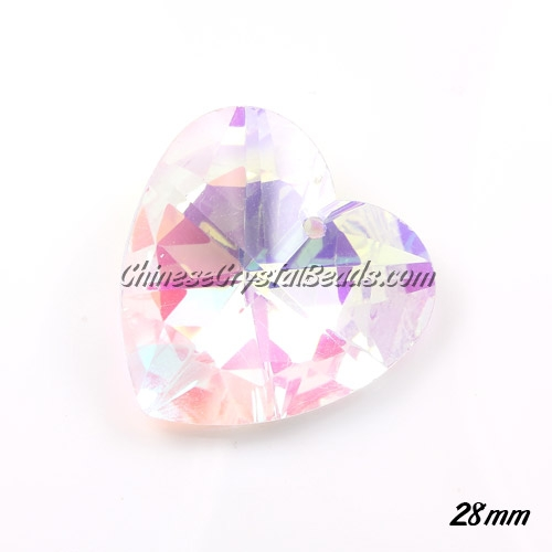 Chinese Crystal 28mm Heart Pendant/Bead, Clear AB