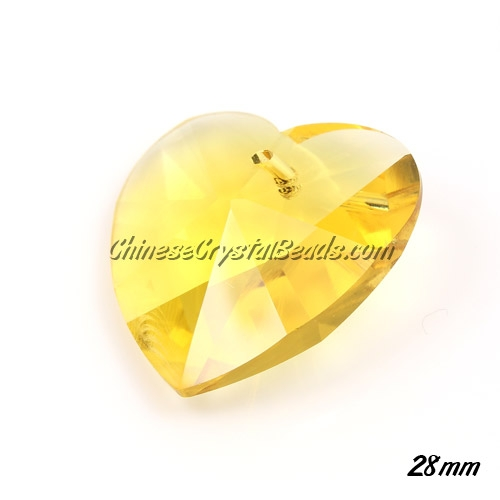Chinese Crystal 28mm Heart Pendant/Bead, Yellow