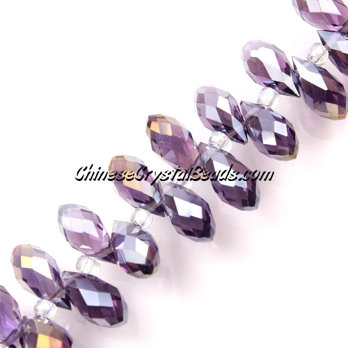 Chinese Crystal Briolette Strand, violet AB, 6x12mm, 20 beads