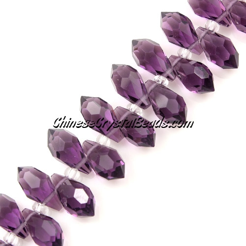 Chinese Crystal Briolette beads , violet, 6x10mm, 20 beads