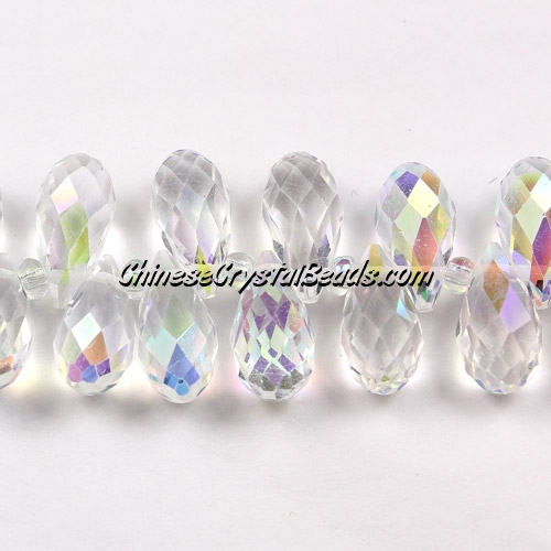 Chinese Crystal Briolette Strand, Clear AB, 6x12mm, 20 beads