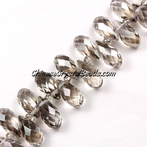 Chinese Crystal Briolette Strand, silver shade, 6x12mm, 20 beads
