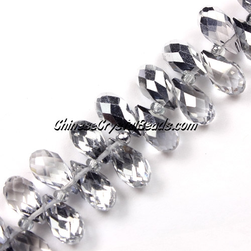 Chinese Crystal Briolette Bead Strand, Half Silver, 6x12mm, 20 beads