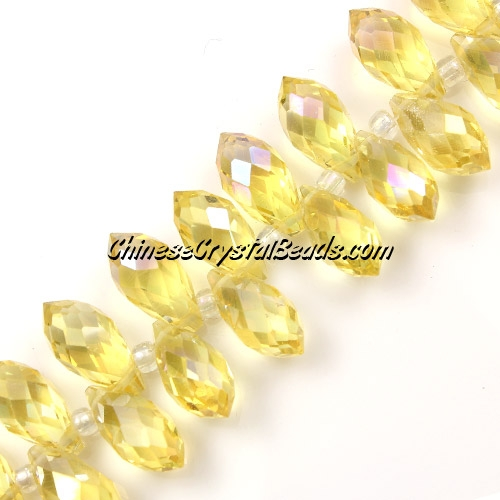 Chinese Crystal Briolette Bead Strand, citrine AB, 6x12mm, 20 beads