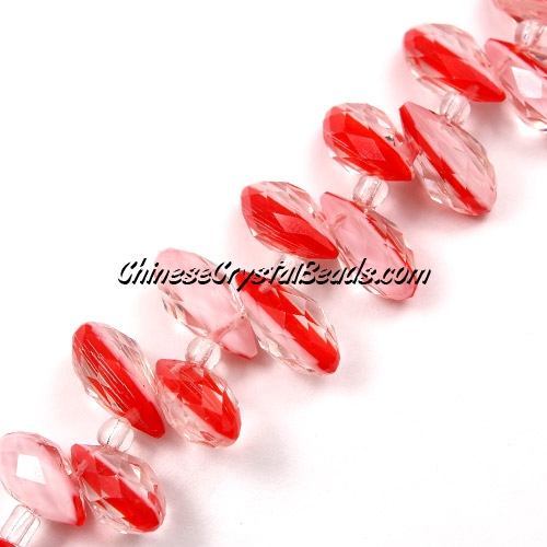 Chinese Crystal Briolette bead strand,two color ,white/red, 6x12mm, 20 beads