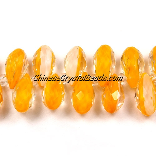 Chinese Crystal Briolette bead strand,two color ,white/orange, 6x12mm, 20 beads