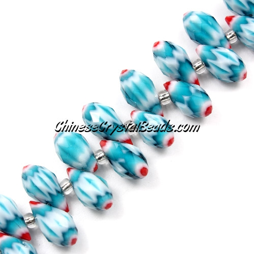 Millefiori Crystal Briolette bead strand, Aqua/red, 6x12mm, 20 beads