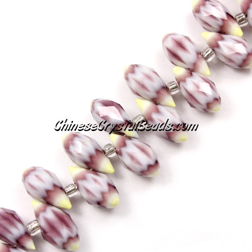 Millefiori Crystal Briolette bead strand, Brown/yellow, 6x12mm, 20 beads