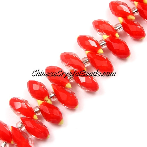 Millefiori Crystal Briolette bead strand, Red/yellow, 6x12mm, 20 beads