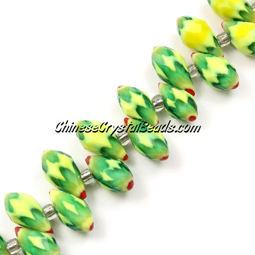 Millefiori Crystal Briolette bead strand, green/yellow/red, 6x12mm, 20 beads