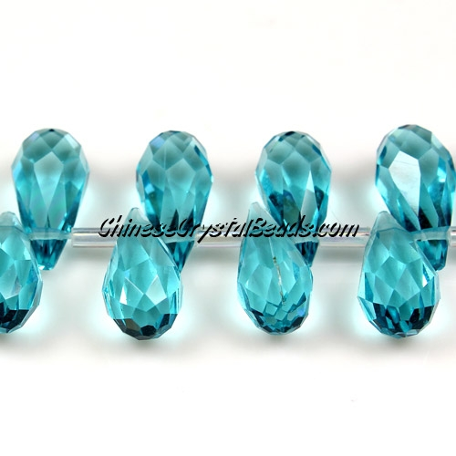 Chinese Crystal Briolette Bead Strand, Aqua,  6x12mm, 20 beads