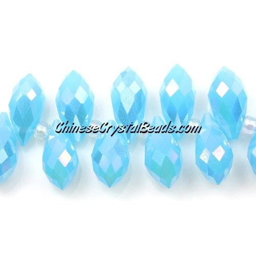 Chinese Crystal Briolette Bead Strand, Aqua Opal AB,  6x12mm, 20 beads