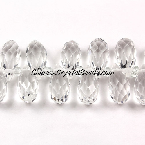 Chinese Crystal Briolette Bead Strand, AAA, Clear,  6x12mm, 20 beads