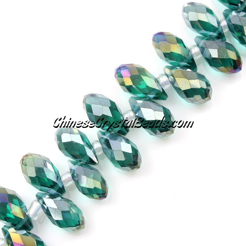 Chinese Crystal Briolette Bead Strand, Emerald AB, 6x12mm, 20 beads