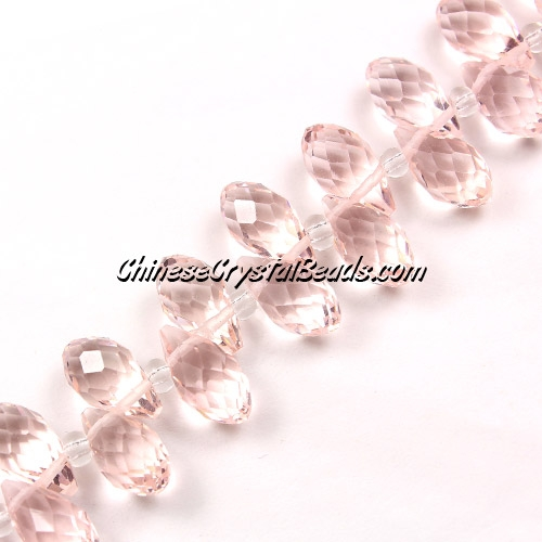 Chinese Crystal Briolette Bead Strand, Rosaline, 6x12mm, 20 beads