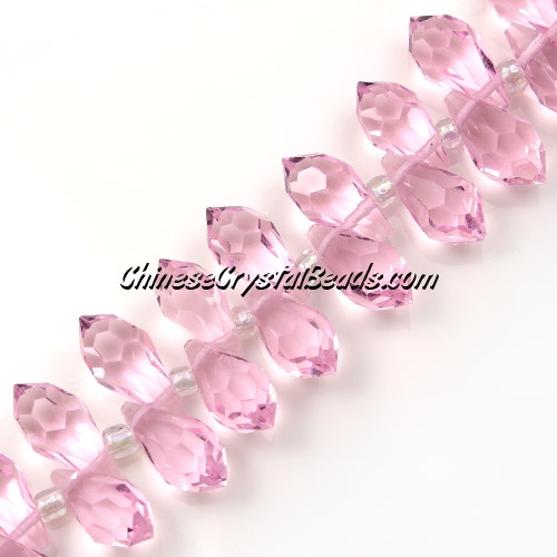 Chinese Crystal Briolette Bead Strand, pink, 6x12mm, 20 beads