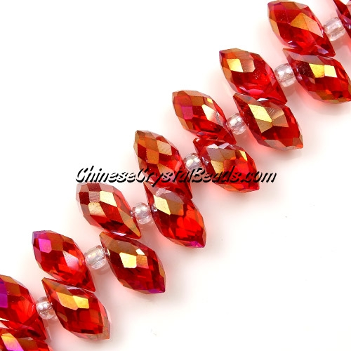 Chinese Crystal Briolette Bead Strand, lt Siam AB,  6x12mm, 20 beads