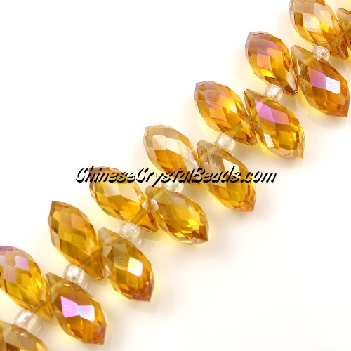Chinese Crystal Briolette Bead Strand, amber AB, 6x12mm, 20 beads
