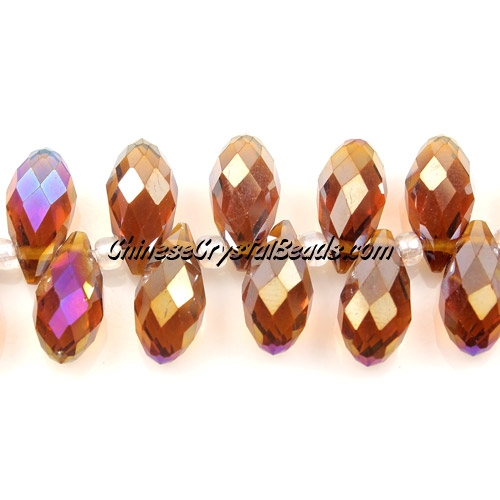 Chinese Crystal Briolette Bead Strand, smoke Topaz AB,  6x12mm, 20 beads