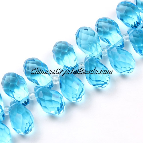 Chinese Crystal Briolette Bead Strand, aqua, 8x13mm, 20 beads