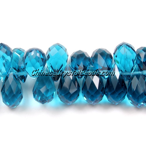 Chinese Crystal Briolette Bead Strand, capri blue,  8x13mm, 20 beads