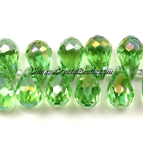 Chinese Crystal Briolette Bead Strand,  Green AB,  8x13mm, 20 beads