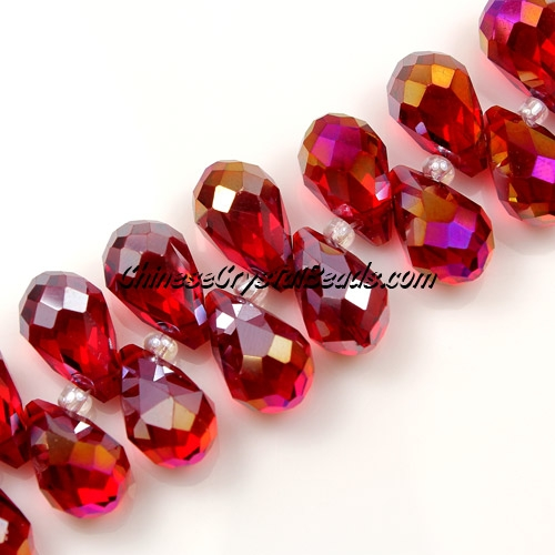 Chinese Crystal Briolette Bead Strand, Siam AB, 8x13mm, 20 beads