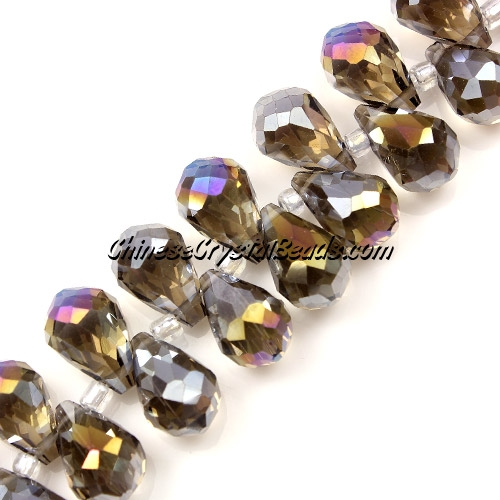 Chinese Crystal Briolette Bead Strand, Smoke AB, 8x13mm, 20 beads