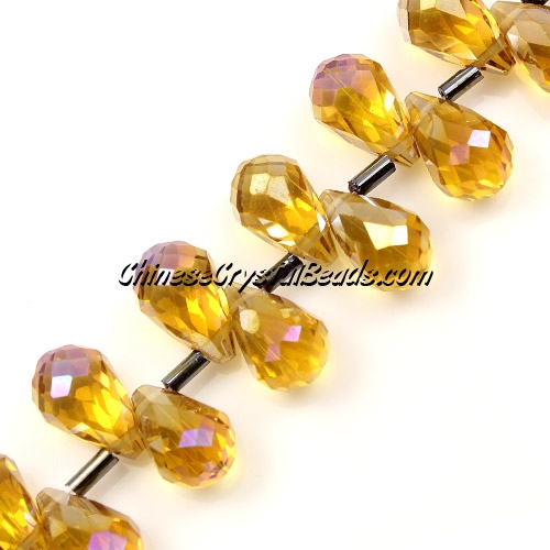 Chinese Crystal Briolette Bead Strand, Topaz AB, 8x13mm, 20 beads