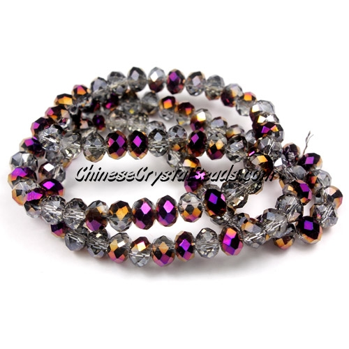 chinese crystal Rondelle bead Strand, 4x6mm, Half purple light, about 100  beads