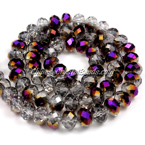 Chinese Crystal Long Bead Strand, Half purple light, 6x8mm, about 72 beads