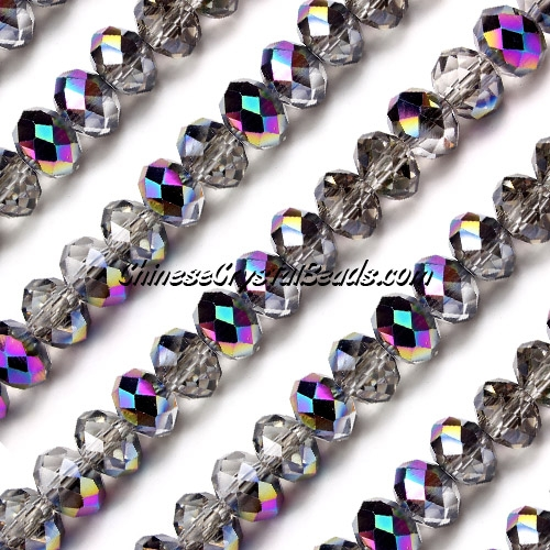 chinese crystal Rondelle bead Strand, 6x8mm, Half Rainbow, about 72 beads