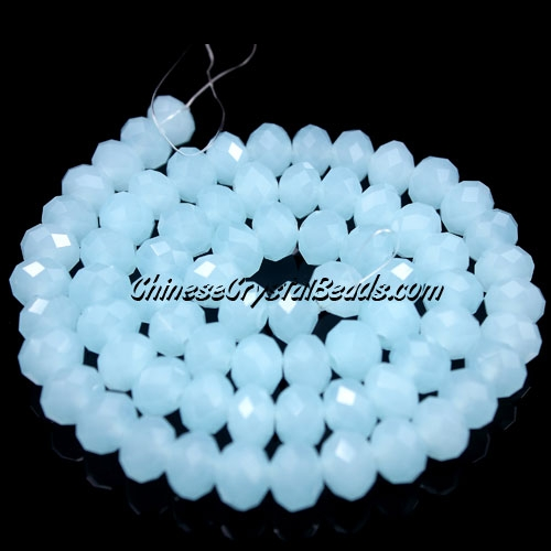 Chinese Crystal Long Rondelle Strand, 6x8mm, opal blue jade , about 72 beads