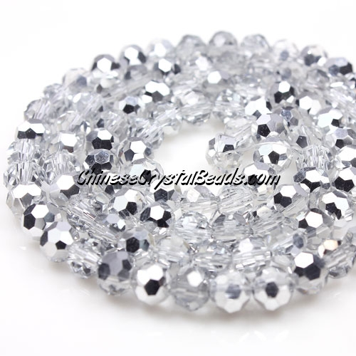 Chinese Crystal Faceted Round 6mm Bead Strand, Half Silver, about 50 beads