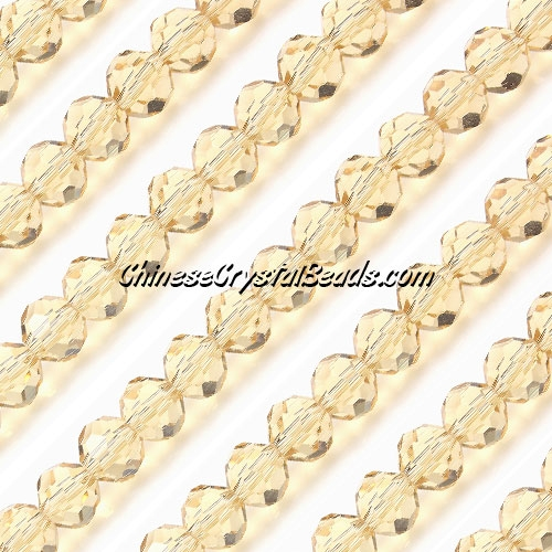 Chinese Crystal Faceted Round 6mm Bead Strand,s. Champagne, about 50 beads