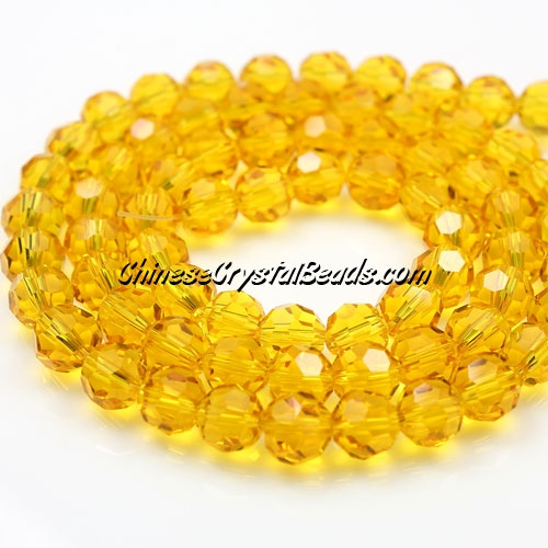 Chinese Crystal Faceted Round 6mm Bead Strand, golden, about 50 beads