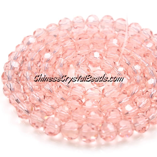 Chinese Crystal Faceted Round 6mm Bead Strand, Rose Peach, about 50 beads