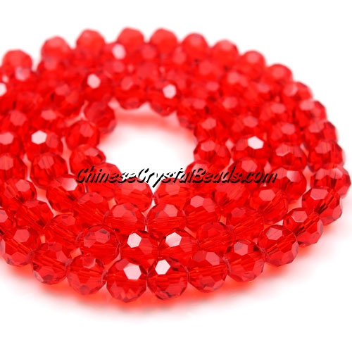 Chinese Crystal Faceted Round 6mm Bead Strand, Lt. Siam, about 50 beads