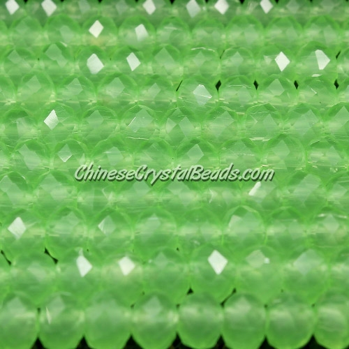 Chinese Crystal Long Rondelle Bead Strand, opaque lime green, 4x6mm , about 100  beads