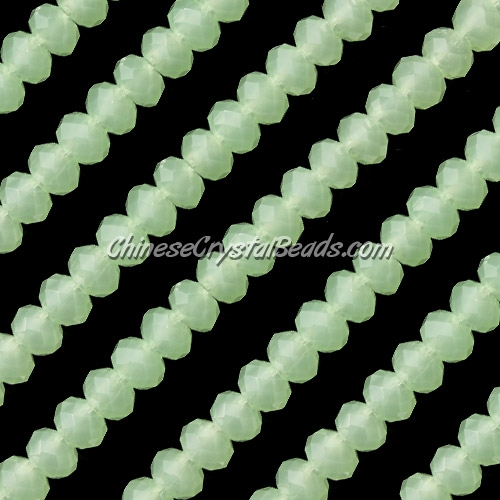 Chinese Crystal Long Rondelle Bead Strand, light green jade, 4x6mm . about 100 beads