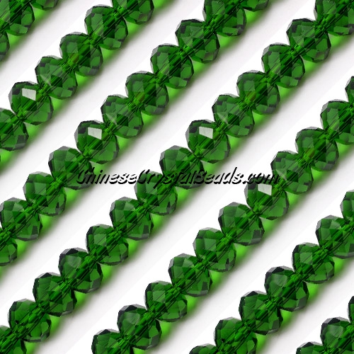 Chinese Crystal Long Rondelle Bead Strand, dark green, 6x8mm , about 72 beads