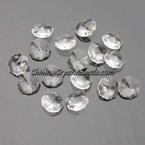 Crystal 14mm Octagon beads, 2 hole, clear, 20 beads