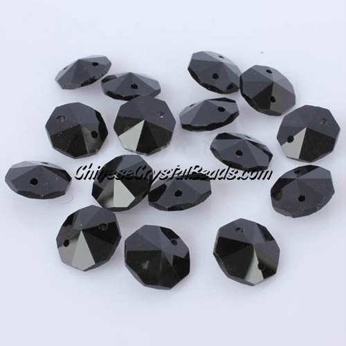 Crystal 14mm Octagon beads, 2 hole, Jet, 20 beads