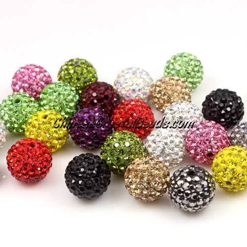 50pcs, 12mm Pave beads, hole: 1.5mm, clay disco beads,mixed