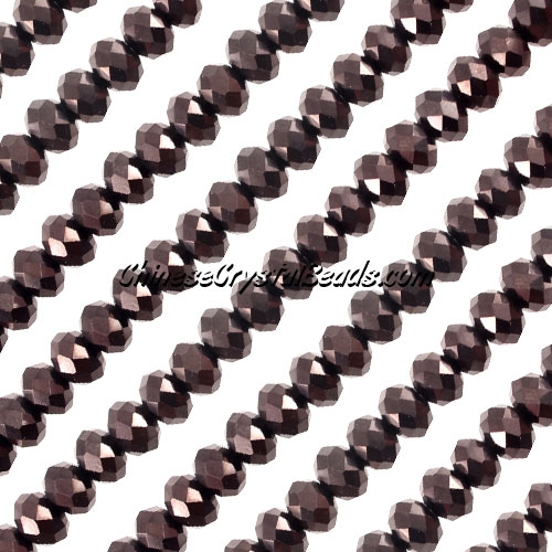 Crystal Rondelle Bead Strand, Hematite, 4x6mm , about 100 beads