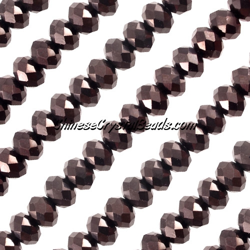 Chinese Crystal Rondelle Strand, 6x8mm, Hematite , about 72 beads