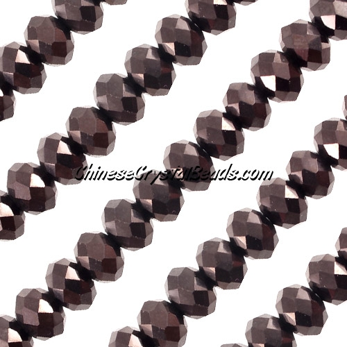 Chinese Crystal Rondelle Strand, 8x10mm, Hematite,25 beads
