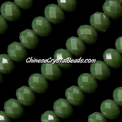 Chinese Crystal Rondelle Strand, 8x10mm, opaque dark green jade , 25 beads