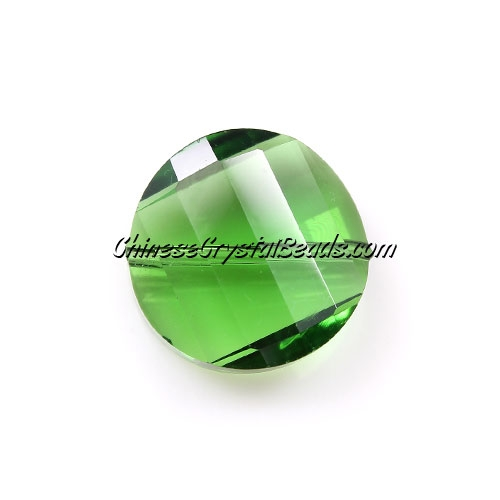 Chinese Crystal Twist Bead, 18mm, fern green, 10 beads